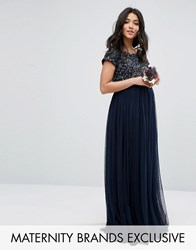 Maya Maternity Maxi Dress With Delicate Sequin And Tulle Skirt Navy