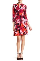 London Times Floral Twist Neck Fit And Flare Print Dress Petite Pink