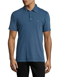 John Varvatos Peace Textured Cotton Polo Sapphire