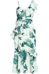 W118 By Walter Baker Inez Ruffled Printed Crepe De Chine Midi Dress Mint