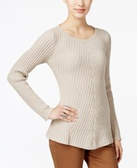 Styleandco. Style Co. Ribbed Crew Neck Sweater Only At Macy's Hammack Heather Ivory