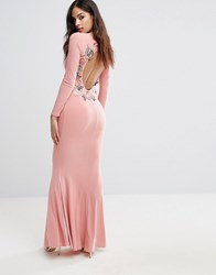 Club L Long Sleeve Maxi Dress With Embroidered Floral Back Detail Blush Pink
