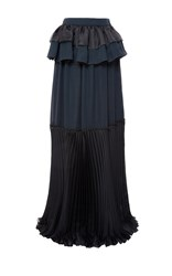 Genny Ruffled Maxi Skirt With Pleated Hem Black