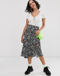 Bershka Floral Print Midi Skirt In Black