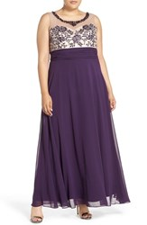 Xscape Evenings Plus Size Women's Xscape Beaded Illusion Bodice Empire Waist Gown