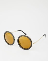 Monki Retro Round Sunglasses With Yellow Tint Lense Black