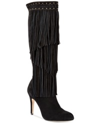 Inc International Concepts Tomi Fringe Tall Dress Boots Women's Shoes Black Suede