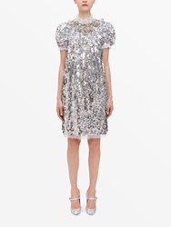 Dolce And Gabbana Sequined Silver Party Dress