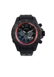 Kyboe Chronograph Stainless Steel Silicone Strap Watch Black