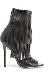 Brian Atwood Abby Fringed Leather Sandals Black