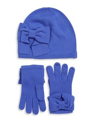 Kate Spade Bow Knit Beanie And Gloves Set Blue