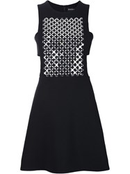 David Koma Mirror And Crystal A Line Dress Black