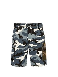 Valentino Camouflage Print Cotton Cargo Shorts Grey