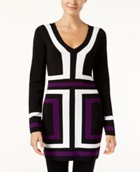 Inc International Concepts V Neck Colorblocked Tunic Sweater Only At Macy's Purple Paradise