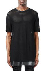 Topshop Men's Topman Aaa Collection Longline Mesh T Shirt With Faux Leather Trim