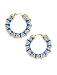 Noir Crystal And Cord Hoop Earrings 1.5In Gold Blue