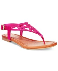 Rampage Pattie T Strap Flat Sandals Women's Shoes Fuchsia