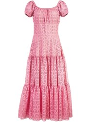 Michael Kors Long Embroidered Cut Out Dress Pink