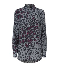Equipment Reese Cheetah Print Silk Shirt Female Grey