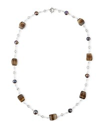 Verona Twisted Quartz And Pearl Necklace 40'L Stephen Dweck Silver