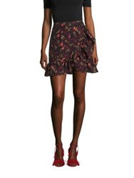 Scripted Faux Wrap Ruffle Mini Skirt Black Floral