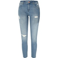 River Island Womens Light Blue Ripped Relaxed Skinny Alannah Jean