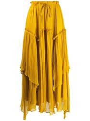 Twin Set Flounce Maxi Skirt Yellow