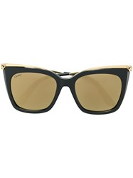 Cartier Panther Head Oversized Sunglasses Black
