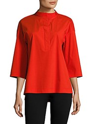 Lafayette 148 New York Solid Asymmetric Blouse Lafayette Red