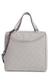 Tory Burch Chevron Quilted Leather Satchel Grey Concrete