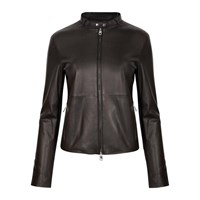 Emporio Armani Anthracite Leather Biker Jacket Black