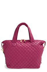 M Z Wallace Mz Wallace 'Large Sutton' Quilted Oxford Nylon Satchel Pink Begonia