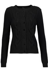 Raoul Cable Knit Wool And Cashmere Blend Cardigan Black
