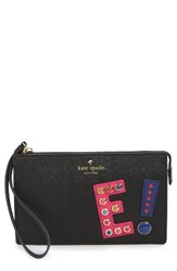 Kate Spade Women's New York Hartley Lane Initial Leila Leather Wristlet Black Black Multi
