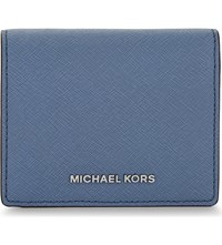 Michael Michael Kors Jet Set Travel Leather Logo Card Case Denim