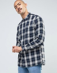 Pull And Bear Pullandbear Checked Shirt In Navy In Regular Fit Blue