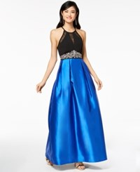 Teeze Me Juniors' Embellished Illusion Fit And Flare Gown A Macy's Exclusive Style Black Royal