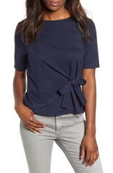 Gibson Tie Front Ponte Knit Tee Navy