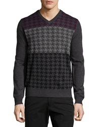 Neiman Marcus Houndstooth V Neck Sweater Shadow