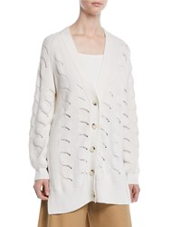 See By Chloe Side Slit Button Front Cardigan White