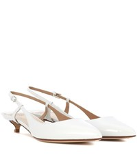 Francesco Russo Patent Leather Sling Back Pumps White