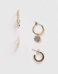 Pieces Pearl Studded Mini Hoop Multi Pack Gold