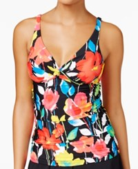 Anne Cole Growing Floral Printed Bra Sized Underwire Tankini Top Women's Swimsuit Multi