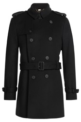 Burberry London Wool Cashmere Trench Jacket Black