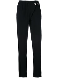 Paco Rabanne Cropped High Waisted Trousers Women Silk Acetate Viscose 40 Black