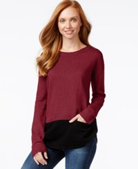 G.H. Bass And Co. Long Sleeve Colorblocked Sweater Berry Combo