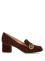 Gucci Marmont Fringed Suede Loafers Dark Brown