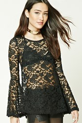 Forever 21 Scalloped Sheer Lace Top Black