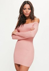 Missguided Tall Pink Ribbed Off Shoulder Mini Jumper Dress