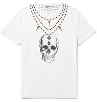 Alexander Mcqueen Slim Fit Skull Print Cotton Jersey T Shirt White